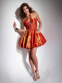 Hot Jewel Halter Satin Homecoming Dress