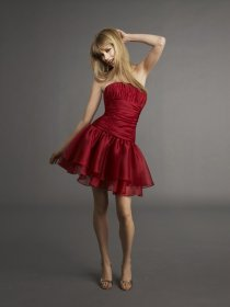 Lovely Red Satin Cascading Ruffle Strapless Cocktail Dress