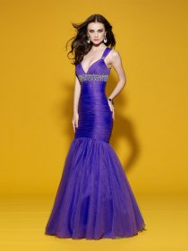 Mermaid Straps Beading Tulle&Satin Evening Dress