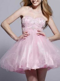 Niftic A-line Strapless Embroidery Sweetheart Graduation Dress With Overbodice