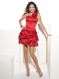One-shoulder Cascading Ruffle Satin A-line Cocktail Dress