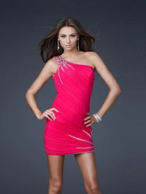 Sheath/Column Beaded One-shoulder Chiffon Cocktail Dress