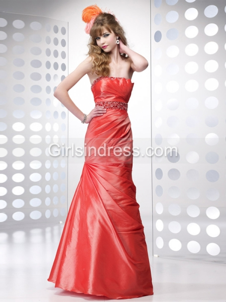 Trumpet Strapless Beading Satin Prom Dress