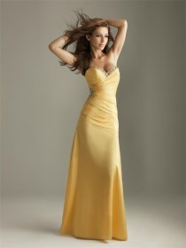 Yellow Satin Strapless Evening Dress