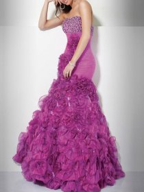 Satin Strapsless Sheath/Column Beading Falbala Evening Dress