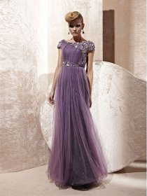 Cape Sleeved Jewel & Crystal Organza A-line Evening Dress