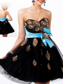 A-line Crystal & Peacock Feater Strapless Sweetheart Homecoming Dress