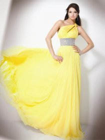 A-line Sleeveless Beading Floor-length Chiffon Prom Dress