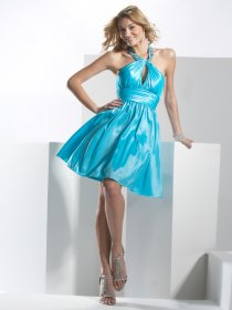 Attractive A-line Jewel Beading Satin Cocktail Dress