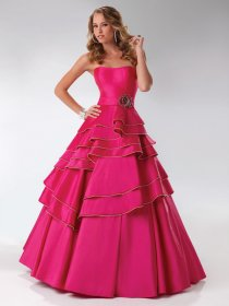 Ball Gown Ruched Strapless Satin Engagement Dress
