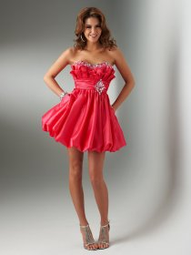 Ball Gown Strapless Satin Beading Homecoming Dress