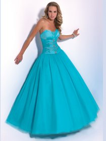 Ball Gown Sweetheart Beaded Tulle & Satin Engagement Dress