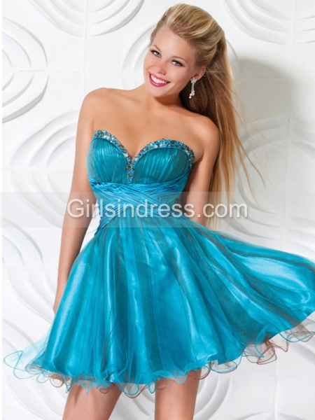 Ball Gown Sweetheart Beading Organza Homecoming Dress