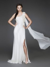 Elegant One-shoulder Design Sheath Chiffon Evening Dress