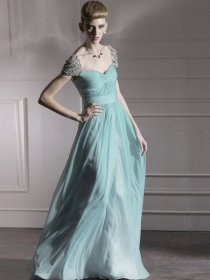 Elegant Sweetheart Beaded Cape Sleeve Chiffon Prom Dress