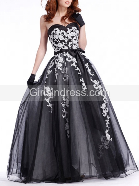 Embroidery Strapless Sweetheart Organza Satin Prom Dress