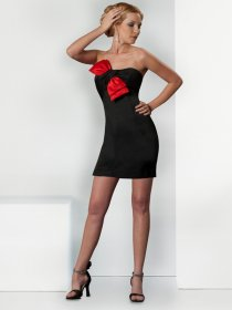 Gorgeous Strapless Satin Sheath Cocktail Dress