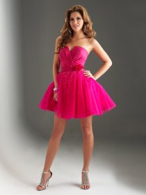 Charming Strapless Satin Organza Beading Flower Graduation Dress