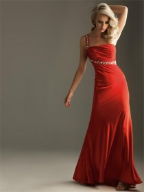 One-shoulder Chiffon Floor Length Sash Prom Dress