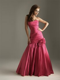 Satin Strapless Mermaid/ Trumpet Evening Dress