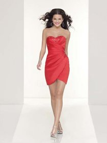 Shiny Sweetheart Satin Sheath/Column Cocktail Dress