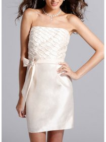 Simple Strapless Bow Detailed Sheath Party Graduation Dress