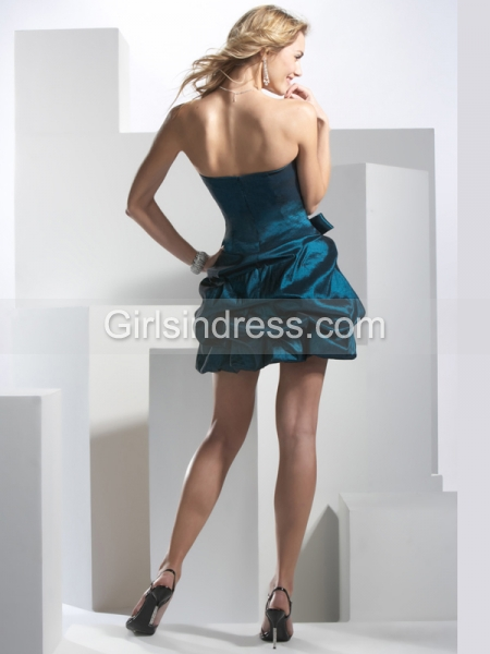Strapless Ruffle Gorgeous Satin Cocktail Dress