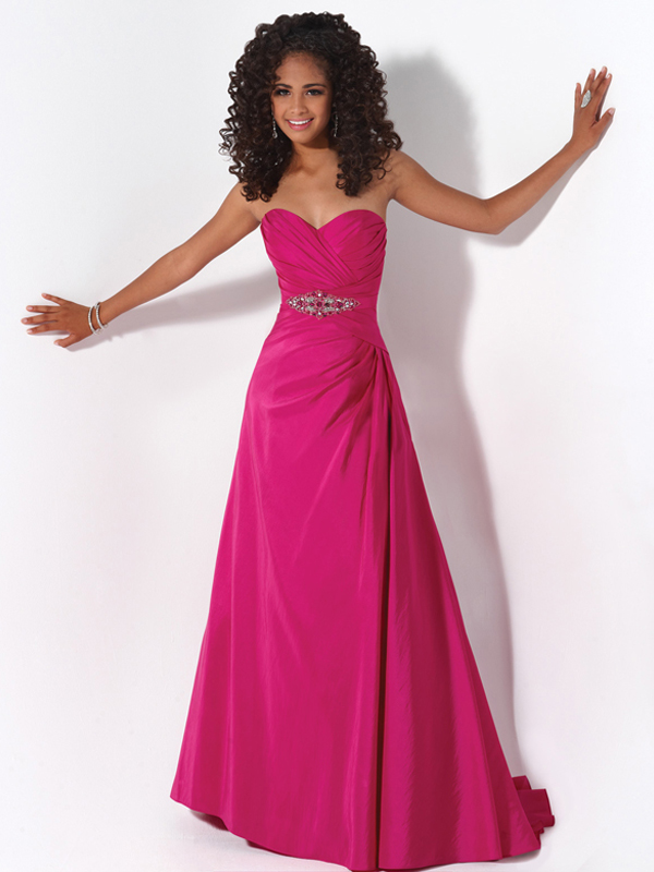 A-line Sweetheart Beaded Floor-length Taffeta Prom Dress